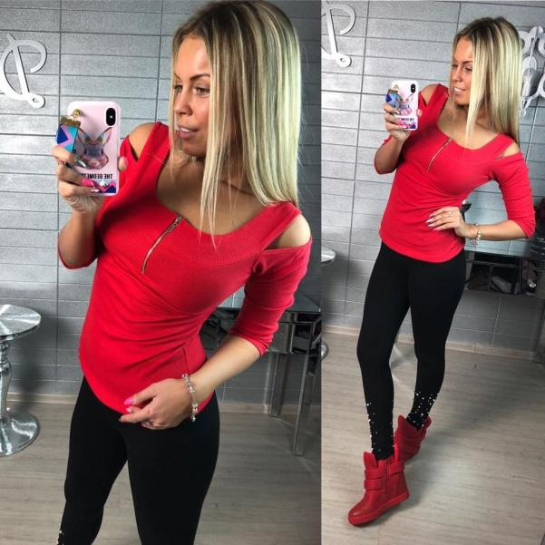 Top triko se zipem červené