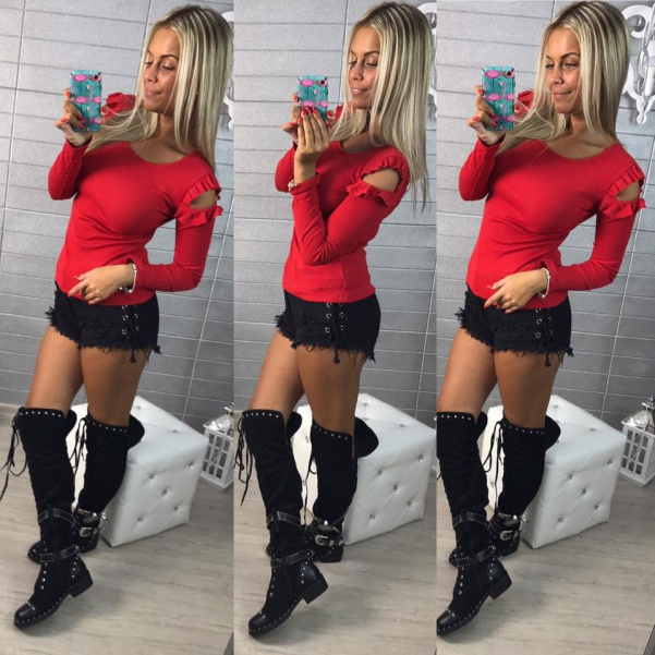 Tričko s volánky na rukávech  - RED