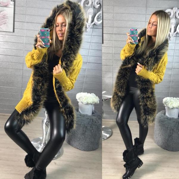 Luxusní svetřík s kožešinkou YELLOW