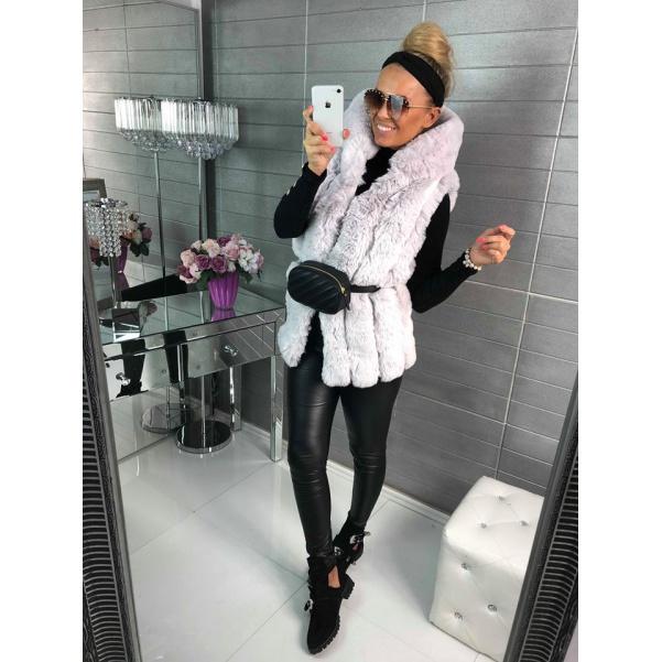 Luxusní vesta s mega kapucí - TOP šedá