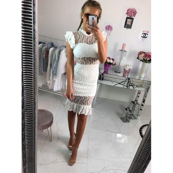 Luxusní krajkové šaty - bílá