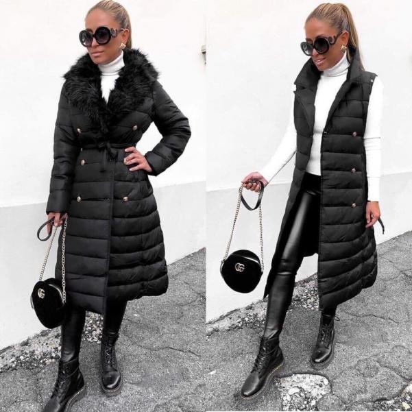 Luxusní zimní kabát 2v 1 s kožichem- černá