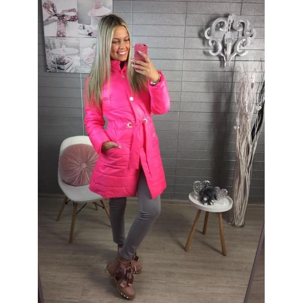 Růžový neon podzimní kabátek se stuhou