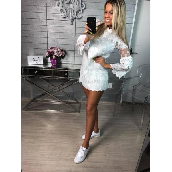 Luxusní krajkové šatičky bílé