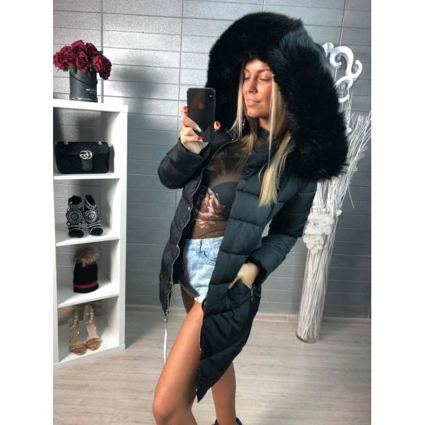 Černá luxusní bundička s bohatým kožíškem
