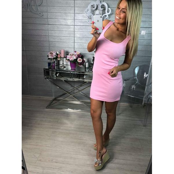 Krásné letní elastické šaty na ramínka- sv. růžová