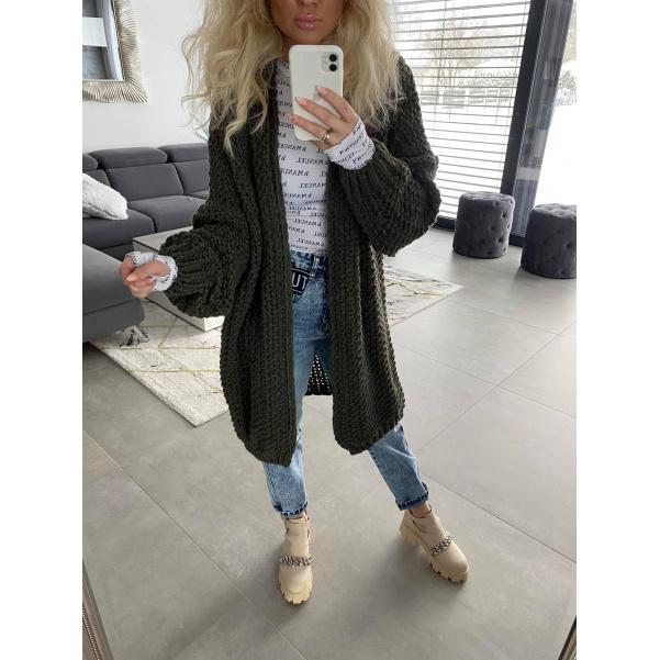 Khaki long svetr