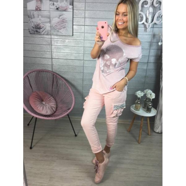 Růžové italské kalhoty s kamínky