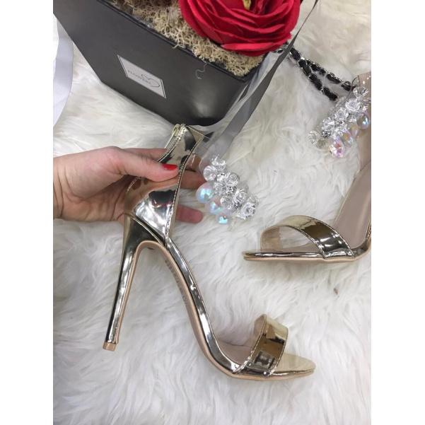 Luxusní botičky zdobené krystaly - GOLD