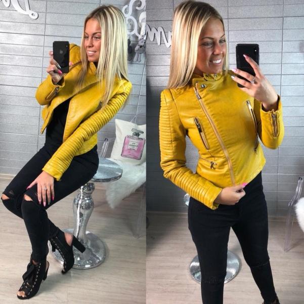 Top žlutá koženková bundička