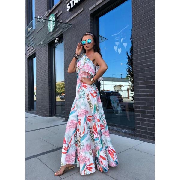 Luxusní Maxi šaty se vzorem a volánkem