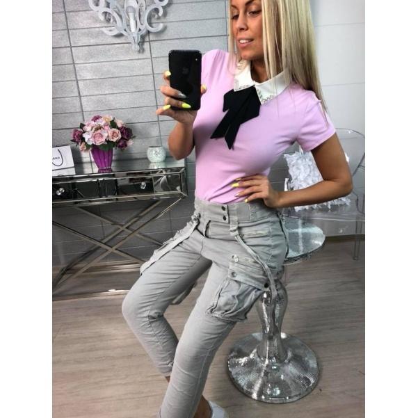 Oblíbené tričko s límečkem fialové