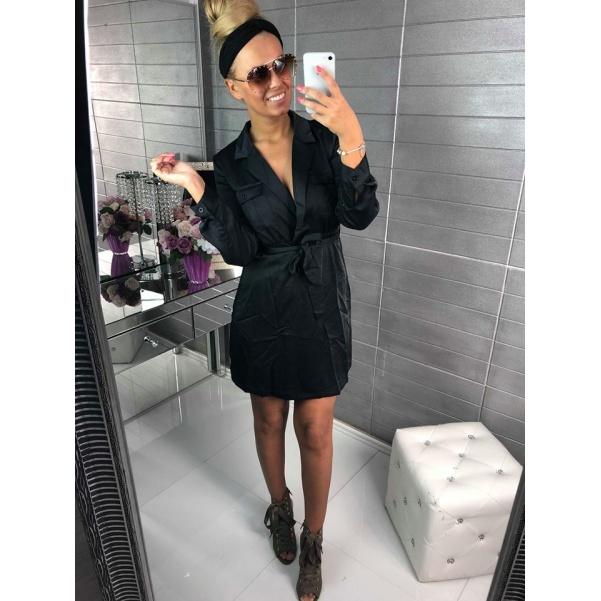 Saténové luxusní šaty s vázanim - černá