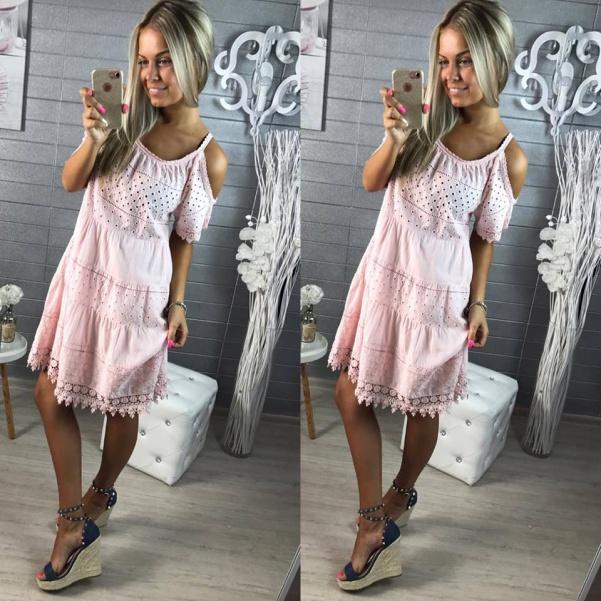 Krajkové luxusní šatičky -pink