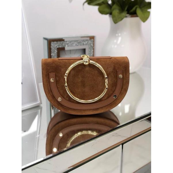 Krásná kožená kabelka - camel