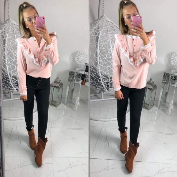 Košile s volánky růžová