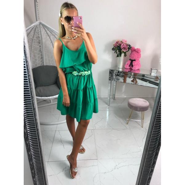 Zelené šaty s flowers páskem