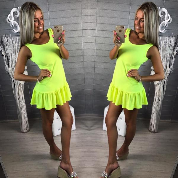 Elastické šaty s volánkem - žlutá