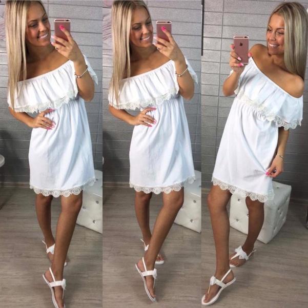 Bíle elastické šatičky s volánky a krajkou