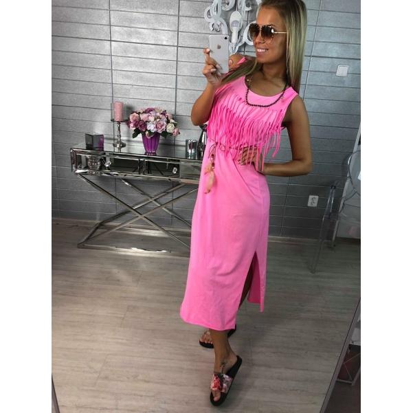 Neon růžové šatičky se střapci - Bell