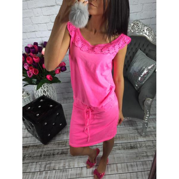 Luxusní neon šaty s krajkou