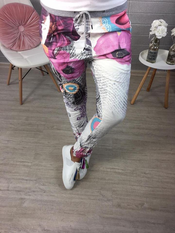 Květinkované elastické kalhoty