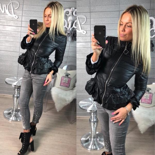 Luxusní černá bundička s volánky