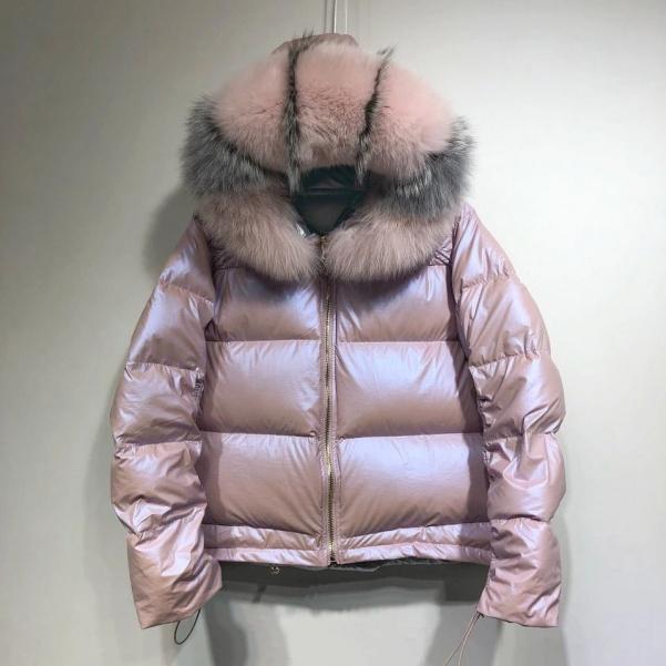 Luxusní péřová bunda s pravým kožíškem - PINK