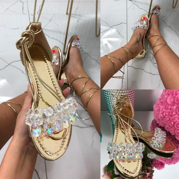 TOP sandálky na vázání - gold