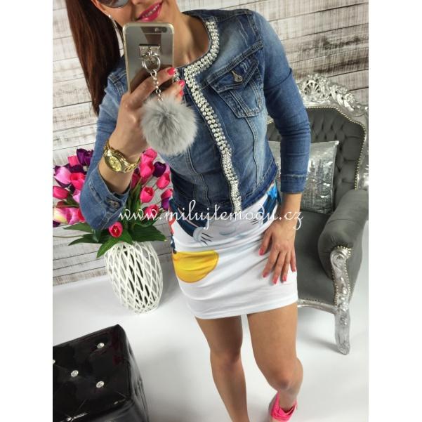 Kásná perličková riflová bunda