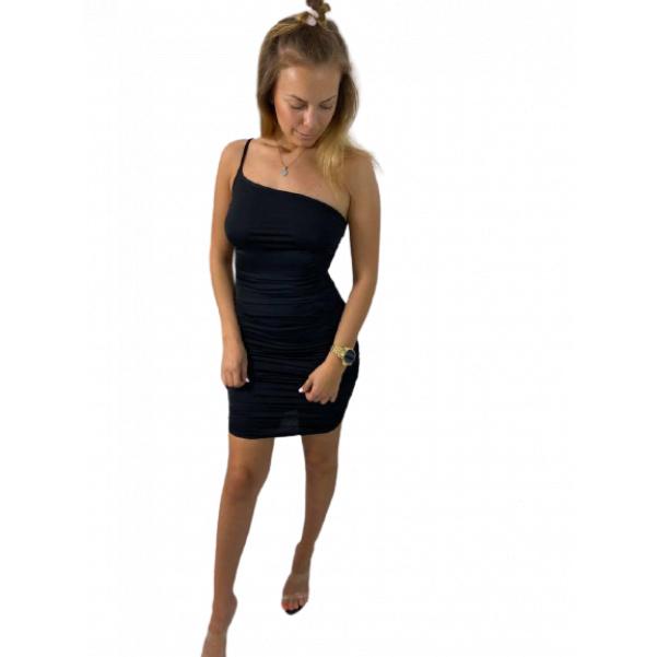 Super slim elastické pohodové šaty na 1 ramínko - black