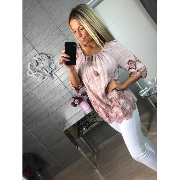 Luxusní krajková halenka Pink