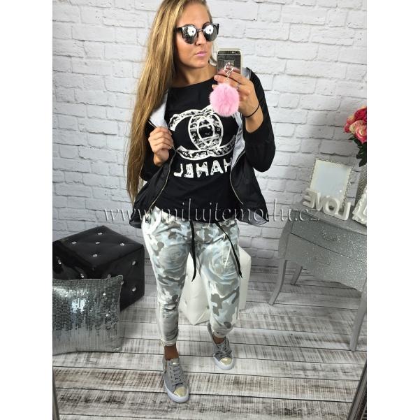 Černé stylové tričko Chanel