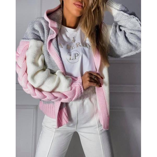 Luxsní copánkový svetr s kapucí -PINK
