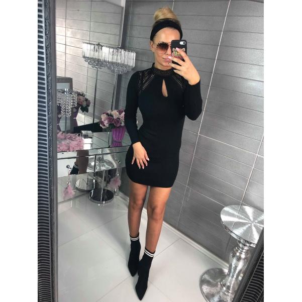 Černé svetříkové šaty s krajkou - černé