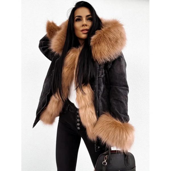 Zateplená riflová bunda s kožešinkou
